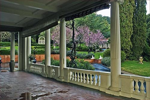 The side veranda of Montalvo's historic villa.