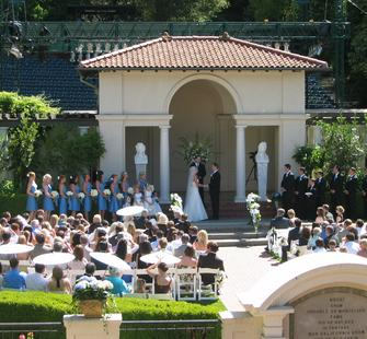 A wedding ceremony in the Oval Garden.