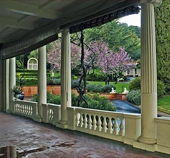 The side veranda of Montalvo's historic villa.