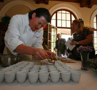 Chef Peter Armellino of the Plumed Horse prepares his gourmet samples
