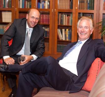Montalvo Trustee Jerry Held and Richard Atkinson in the Senator's Library