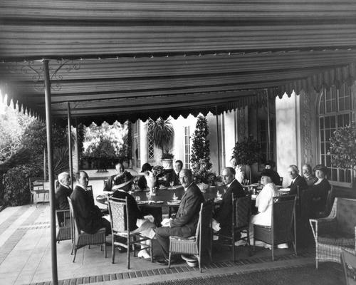 A luncheon on the front terrace at Villa Montalvo.