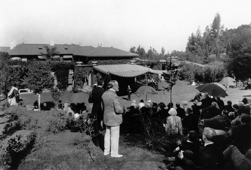 Senator Phelan observes a Garden Theatre event