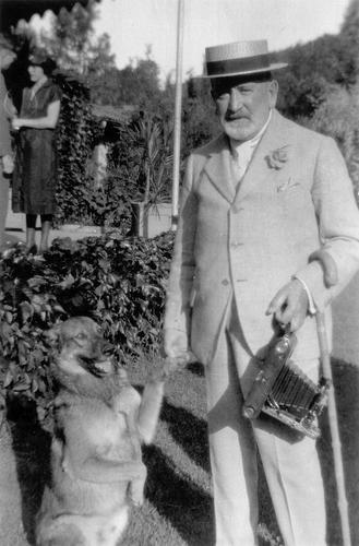 Senator Phelan and his dog, Boz, at Villa Montalvo
