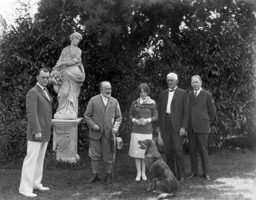 On the grounds, near the Formal Garden, March 31, 1927: Col. Howland, Sen. Phelan, Rowina Mason, NY Banker (?), OK Cushing, Boz (the dog).