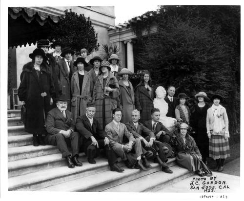 Senator Phelan with students on the steps of Villa Montalvo, 1923