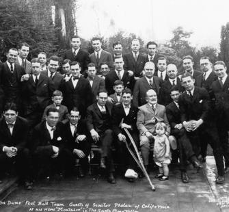 Senator Phelan hosts the Notre Dame football team at Montalvo, 1925