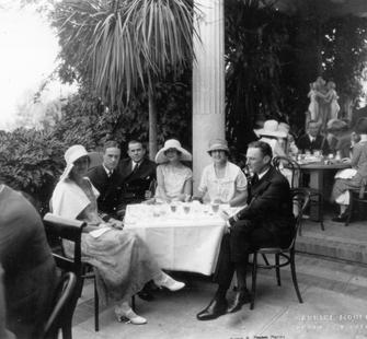 A luncheon for US Navy officers on the front terrace at Villa Montalvo