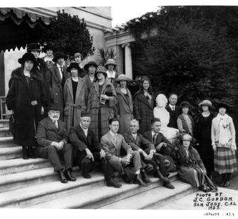 Senator Phelan with students on the steps of Villa Montalvo, 1923