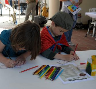 Young artists hard at work.