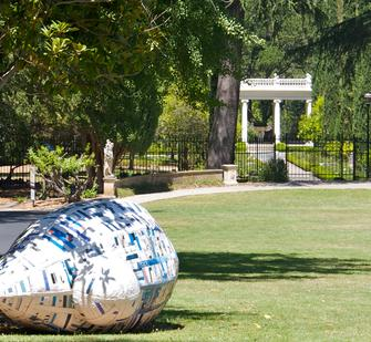 """Many the Lilt the Heart May Know Here,"" 2010, by Ann Weber, on Montalvo's Great Lawn"