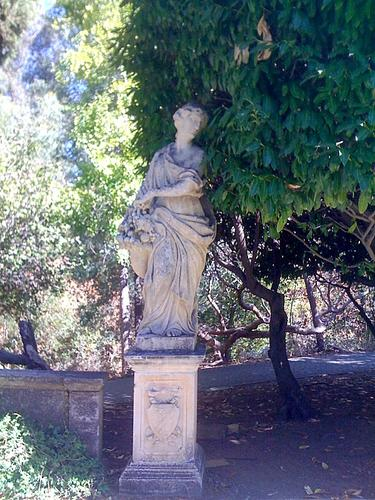 A sculpture at the entrance to the Italianate Garden