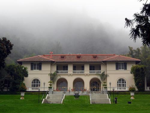 The historic Villa on a foggy morning
