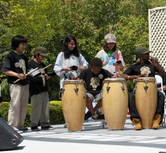 Students in Janetta Coleman's African music class perform at Arts Splash