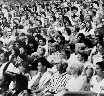 Seated public on Montalvo's Front Lawn, photographer unknown, c. 2000-04. Montalvo Arts Center Archive.