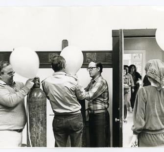 Montalvo staff and trustees prepare for the Sweetheart Ball, photographer unknown, 1982. Montalvo Arts Center Archive.