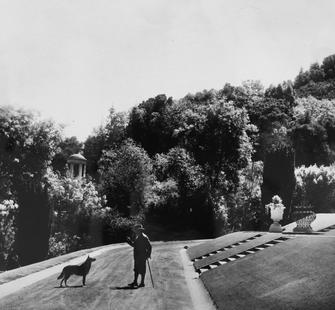 James Duval Phelan and his dog Boz, Montalvo, 1927, photographer unknown. James D. Phelan Photograph Albums, 1902-1928.