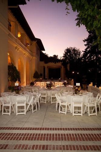 Evening tables set on the front veranda.