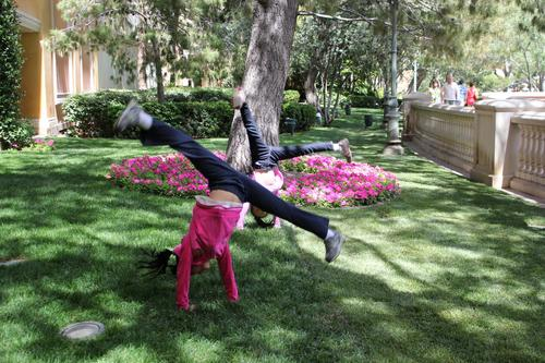 Happiness is doing cartwheels with a friend over spring break