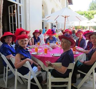 Getting into the spirit at a summer luncheon!