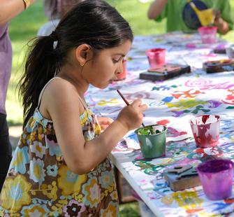 A young artist at work.
