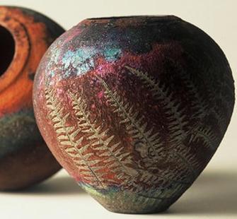 A raku-fired pot.