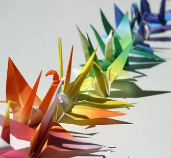 Paper Cranes created by artist Tiffany Singh