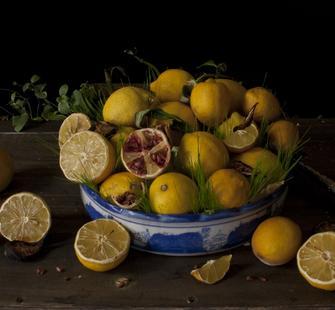 "Grahame Weinbren: ""Still Life with Banquet"" (frame enlargement)"