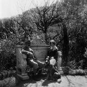 Senator Phelan, Rowina Mason, and Boz in the gardens