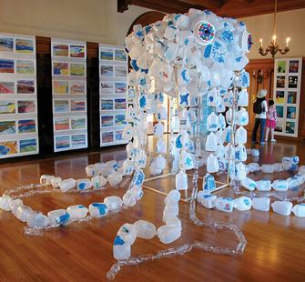 A sculpture created by students learning about plastic in the environment