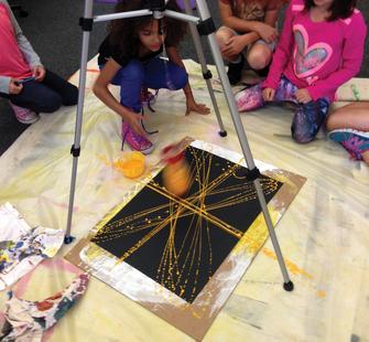 Pendulum painting in the classroom