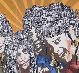 """Jitish Kallat, """"Eclipse 3 (Triptych)"""" (2007)"""